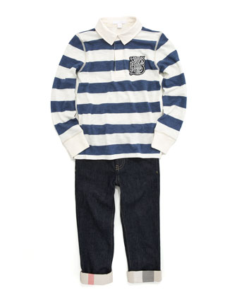 Mini Duffle Coat, Mini Check-Cuff Jeans & 56 Striped Rugby Polo