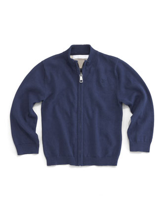 Zip-Front Sweater, Navy