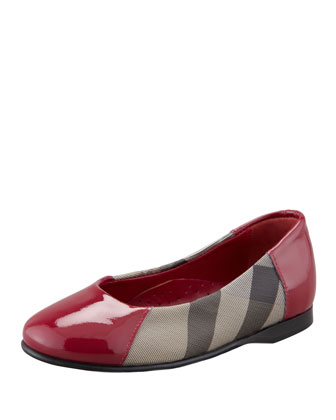 Check Patent-Trim Mary Jane Ballerina, Raspberry Sorbet