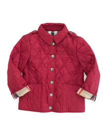 Mini-Pirmont Diamond Quilted Jacket, Fritillary Pink