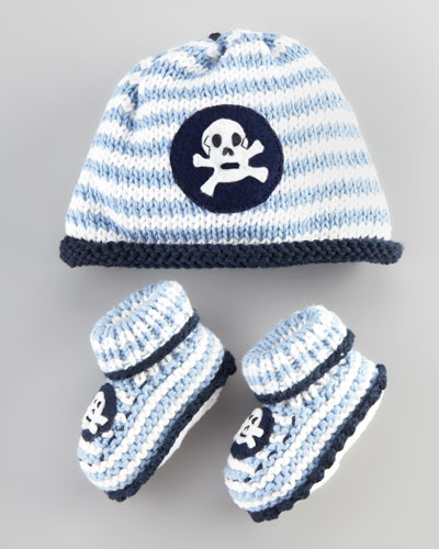 Skull Striped Hat and Bootie