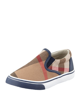 Navy Check Slip-On Sneaker, Toddler Sizes