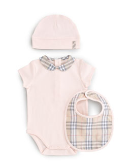 Burberry Check Playsuit, Bib & Hat Set, Ice Pink