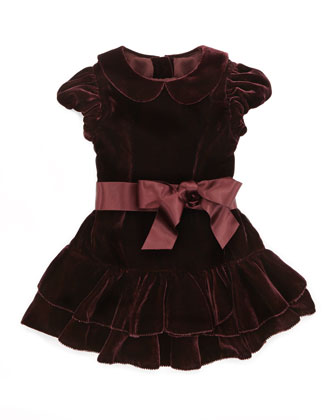 Drop-Waist Velvet Dress, Bordeaux, 3-9 Months