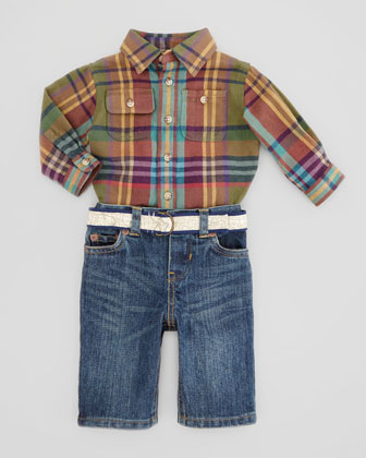 Matlock Shirt & Denim Pants Set, Green Multi, 9-24 Months