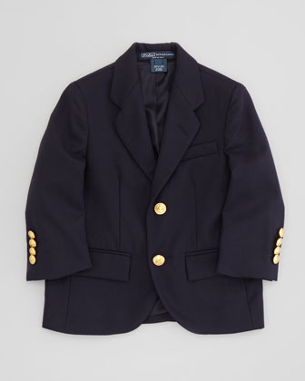 Two-Button Wool Blazer, Navy, Sizes 2T-3T