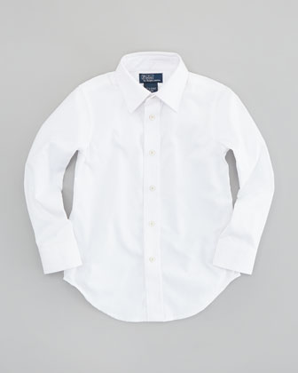 Lowell Long-Sleeve Dress Shirt, White, Sizes 4-7