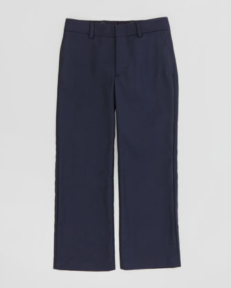 Wool-Twill Flat-Front Pants, Navy, Sizes 4-7
