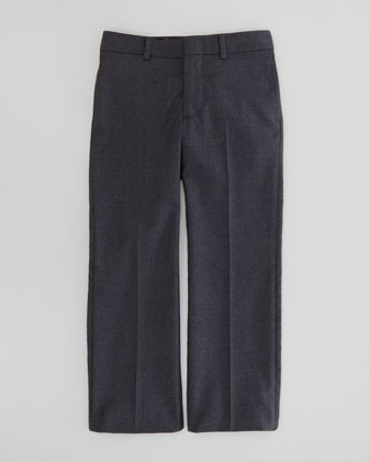 Wool-Twill Flat-Front Pants, Dark Gray, Sizes 4-7