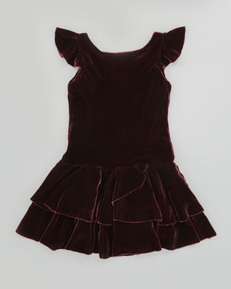 Drop-Waist Velvet Flutter-Sleeve Dress, Bordeaux, Sizes 2T-3T