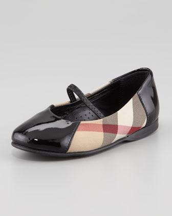 Check Patent-Trim Mary Jane Ballerina, Black