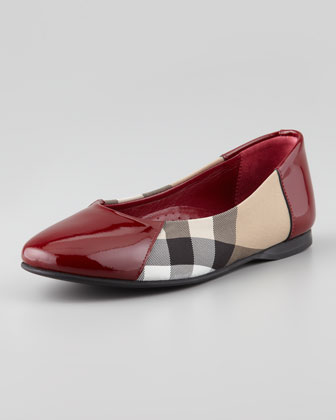 Check Patent-Trim Ballerina, Berry Red, Youth
