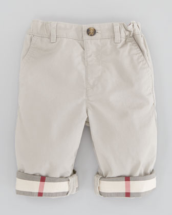 Check-Cuff Khaki Trousers, Sizes 18M-3Y