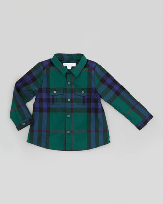 Infant Boys' Long-Sleeve Check Shirt, Forest Green, 18M-2Y