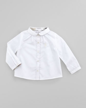 Infant Girls' Poplin Blouse, White