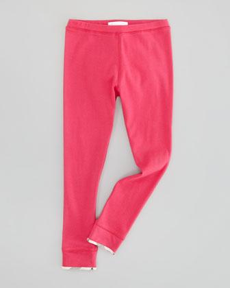 Infant Girls' Check-Trim Leggings, Fuchsia Pink