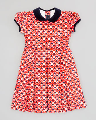 Girls' Floral-Print Pleated Dress, Red, 18M-2Y