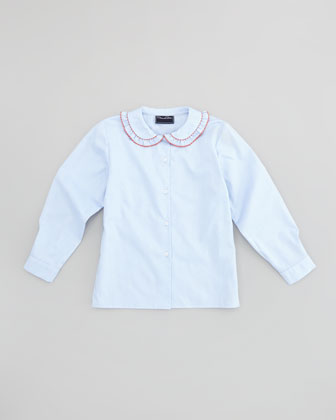 Girls' Double Ric-Rac Blouse, Blue, 18M-2Y