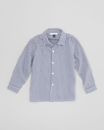 Little Boys' Gingham Button-Down Shirt, Navy/White, 18M-2Y