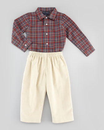 Baby Boys' Grid-Check Oxford Shirt, Brown, 18M-2Y