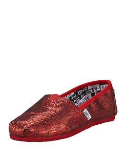 TOMS Red Glitter Shoe, Youth