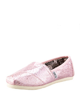 TOMS Pink Glitter Shoe, Youth