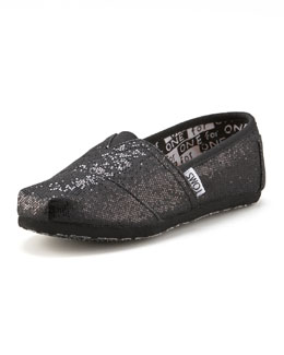 TOMS Black Glitter Shoe, Youth
