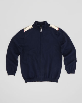 Boys' Knit Zip Cardigan, Navy