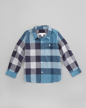 Boys' Herringbone Check Shirt, Dusty Thistle, 4-10Y
