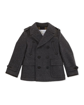 Wool/Cashmere Pea Coat, Gray, Boys 4Y-10Y