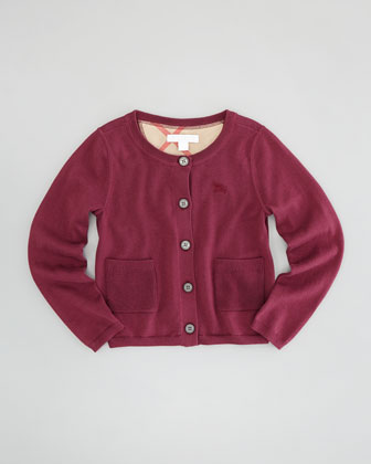 Girls' Knit Cardigan, Claret Pink