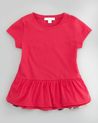 Drop-Waist Ruffle-Hem Tee, Pink, Sizes 4Y-10Y