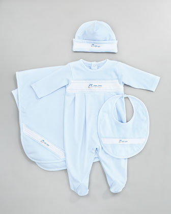 Choo Choo Hat, Playsuit, Bib & Blanket