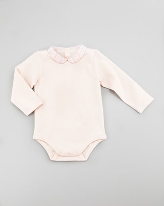 Peter Pan-Collar Long-Sleeve Playsuit, Newborn