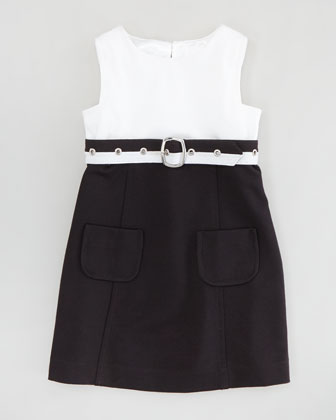 Cece Combo Belted Dress, White/Black, Sizes 2-6