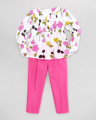 Floral-Print Pintuck Blouse, Sizes 2-6