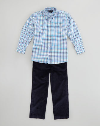Boys' Check Button-Down Shirt, Navy