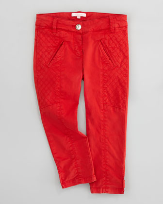 Satin Quilted-Panel Pants, Red, Sizes 6-10