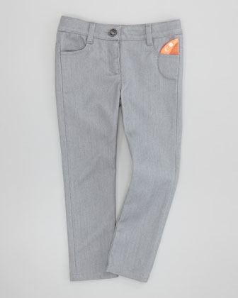Shiny Slim-Fit Denim Jeans, Gray, 6Y-10Y