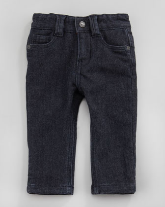 Denim Jeans with Flannel Lining, Blue, 3-12 Months