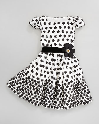 Floral-Applique Dress, Ivory/Black, Sizes 2Y-10Y