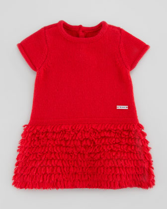 Ruffle-Fringe Knit Dress, Red, 3-24 Months