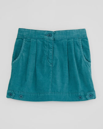 Aria Pleated Corduroy Skirt, Teal, Sizes 2-10