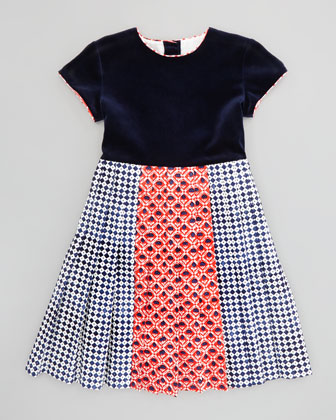Girls' Pleated Multi-Print Dress, Navy