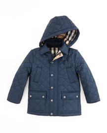Charlie Quilted Nylon Coat, Navy, 4Y-10Y