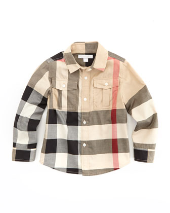 Boys' Check Military Shirt, New Classic, 4Y-10Y