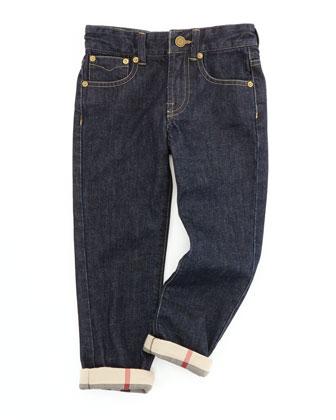 Boys' Check-Cuff Jeans, Indigo, 4Y-10Y