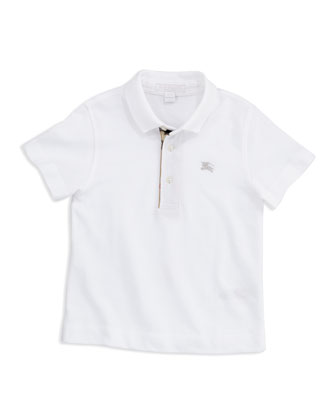 Check-Trim Polo, White, 4Y-10Y