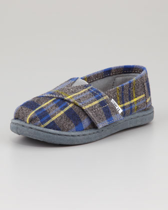 Tiny Flannel Plaid Shoe, Blue