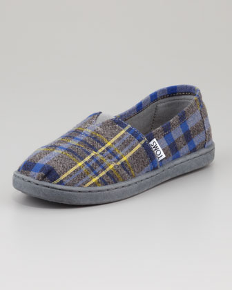 Youth Plaid Slip-On Shoe, Blue